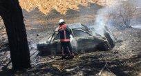 Devrilen Otomobil Alev Aldı 1 Kişi Yaralandı